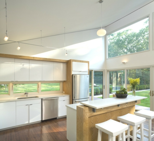 kreative Ideen für Küchenfenster modern design hängelampen oberschränke
