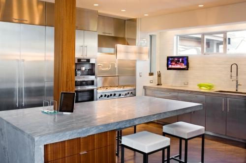kreative Ideen für Küchenfenster modern design quadratisch rückwand