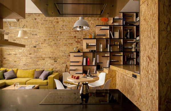 kreative wohnung mit fließendem design pendellampe im industriellen stil