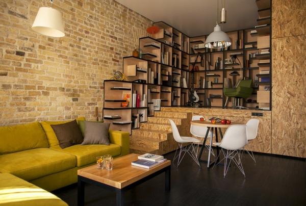 kreative wohnung mit fließendem design ziegelwand und holzspanplatten