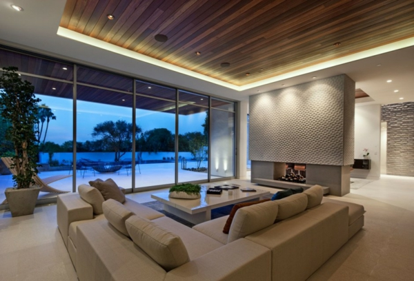 luxuriöse residenz mit gewagtem design moderner kamin sitzecke in creme