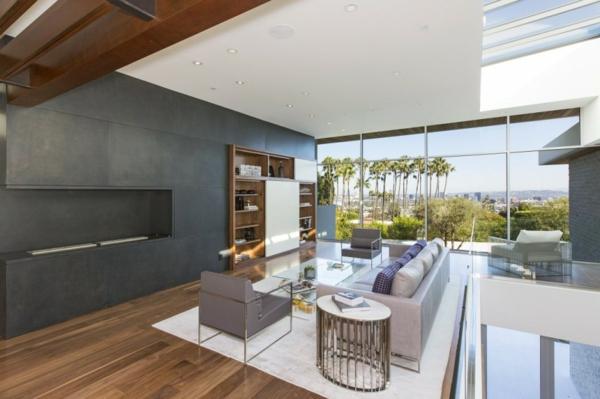 luxuriöse residenz mit gewagtem design panoramafenster graphitfarbene wohnwand