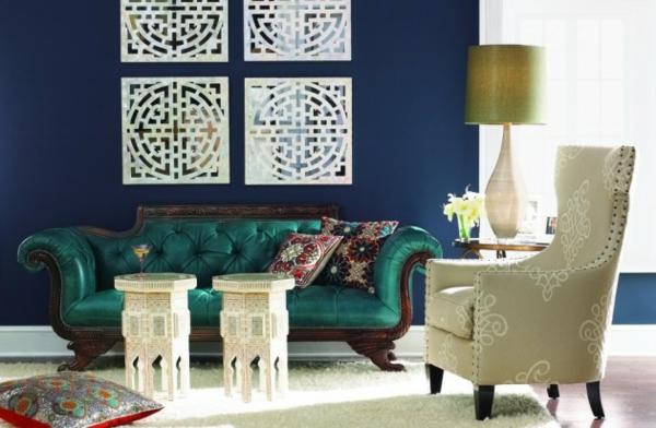luxus ledersofa klassisch marokkanisch stil türkis nebentisch sessel