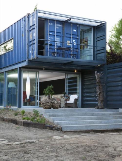 metallisch fassade treppe außenbereich extravagant container haus