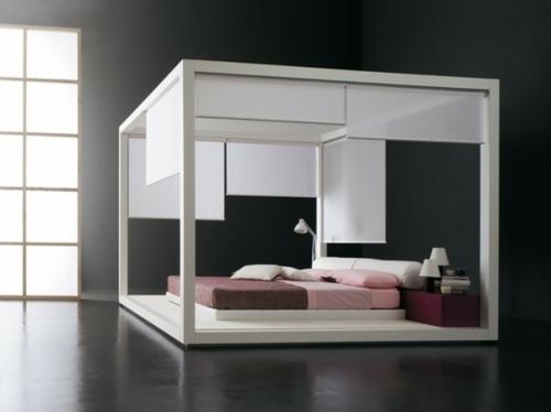 minimalistisch einrichtung schlafzimmer matratze bettwäsche rosa braun