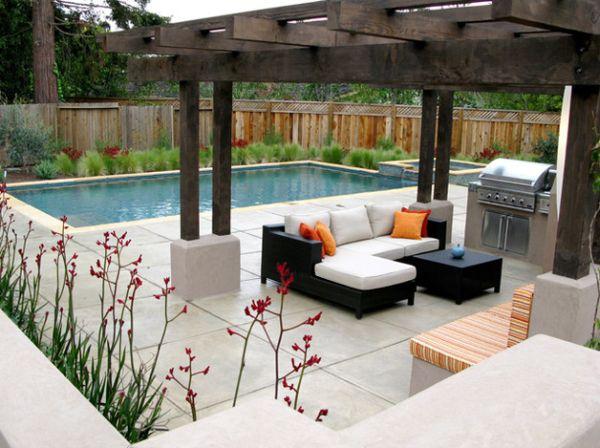 modern luxus sitzecke garten pool pergola rattan möbel schwarz