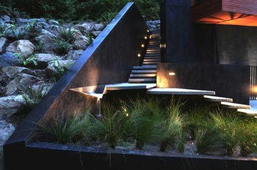 moderne Außentreppe mit Beleuchtung minimalistisch design