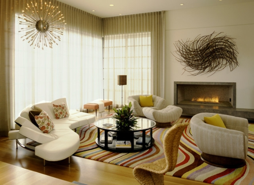 moderne dekoration trends bunte wellen muster teppich