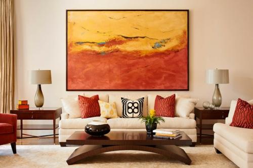 moderne residenz aus backsteinen abstrakte wandkunst rot und gelb