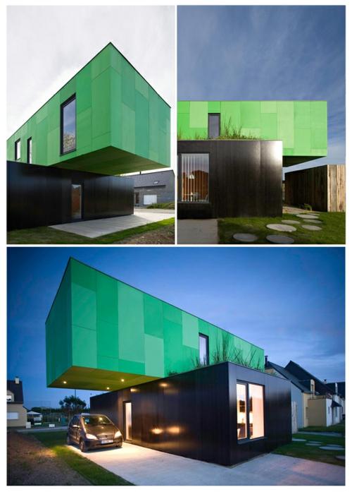 modular grün fassade container haus design innovativ avantgardistisch