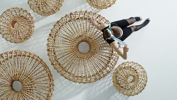 Rattan Couchtisch Bahama Rund Massivholz Möbel Modern