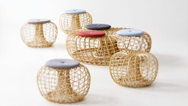 nachhaltige rattan möbel runde sitzbank und hocker