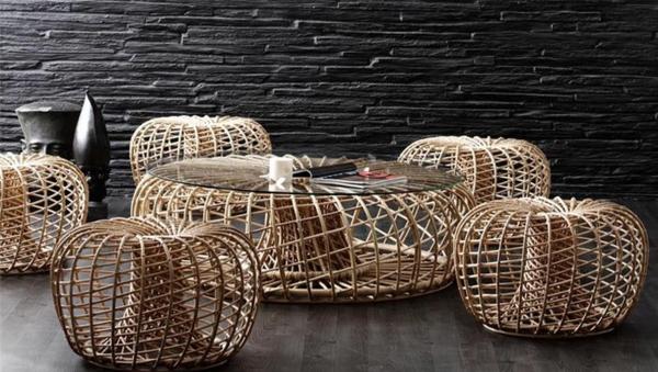 nachhaltige rattan möbel runder kaffeetisch mit glasplatte