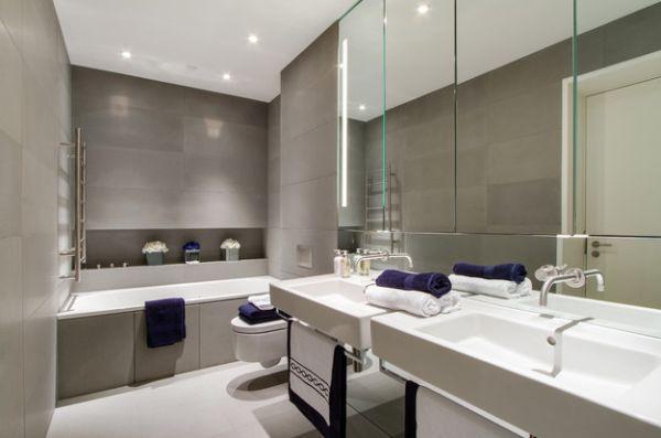 Originelle Einrichtungsideen Im Bad - Badetücher Mit Schwung Badezimmer Hellgrau Wei