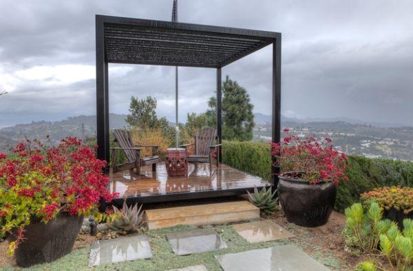 pflanzenarten bunt blüten pergola design massive gartenmöbel