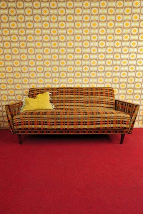 retro look im wohnzimmer kreisförmige muster