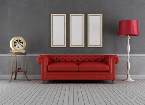 wohnzimmer retro look:retro look im wohnzimmer schmaler Beistelltisch und Stehleuchte mit