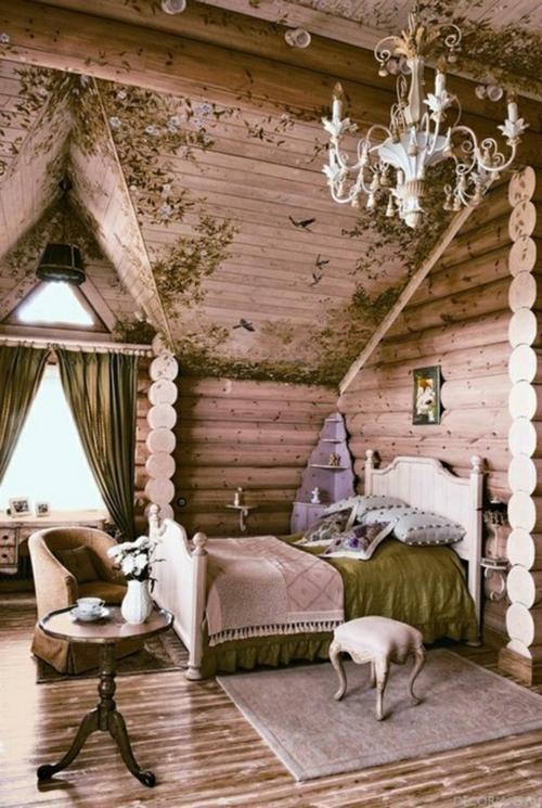 romantische schlafzimmer einrichtung baumstammhaus