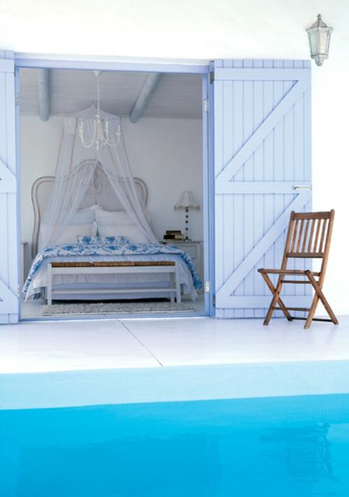 romantische schlafzimmer einrichtung meeresblau und baldachin