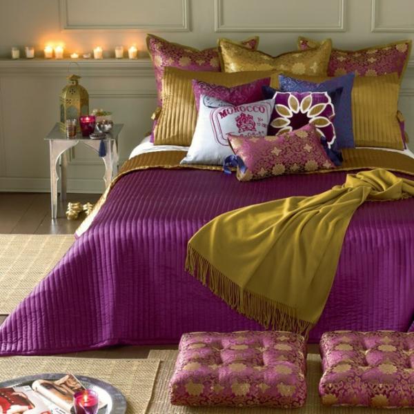 satin violett lila lindgrün bettwäsche marokkanisch stil schlafzimmer