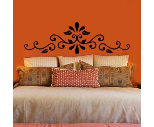 schicke halloween dekoration orange wand schwarzes rankenmuster wandtattoo