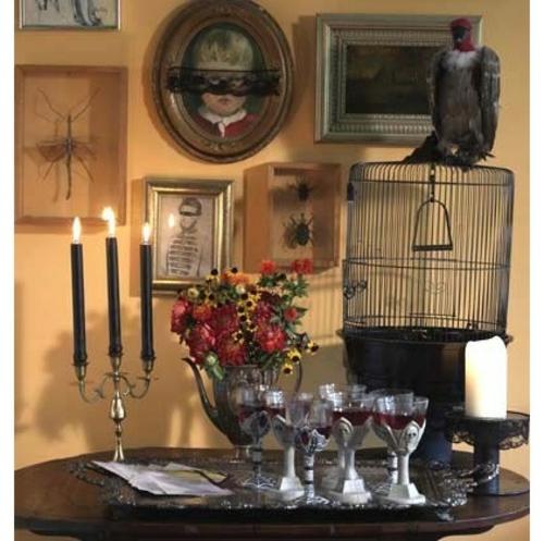schicke halloween dekoration schwarze kerzen gaier und käfig