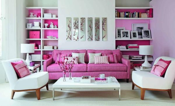 schicke wohnzimmer einrichtung sessel sofa design weiß rosa