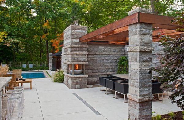 stein konstruktion pergola design feuerstelle praktisch elegant