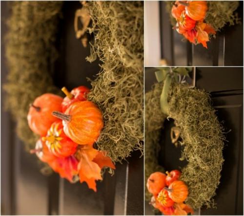türkranz herbst dekoideen design orange kürbisse klein moos