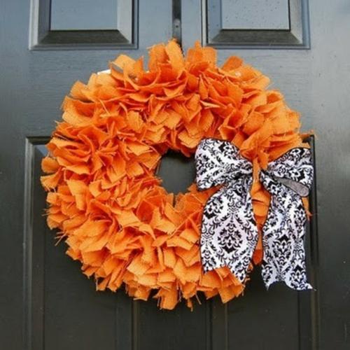 türkranz herbst dekoideen selbstmachen orange stoff schwarz weiß band