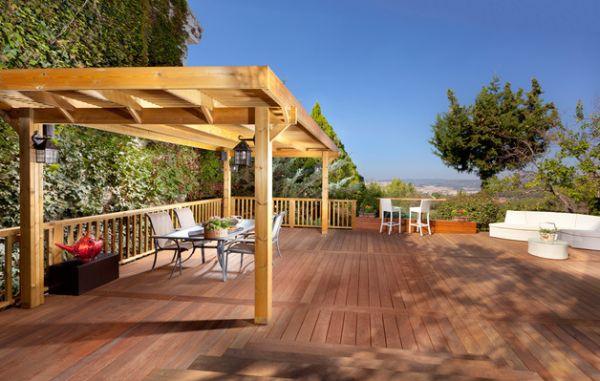 terrasse außenbereich essbereich pergola design pflanzen