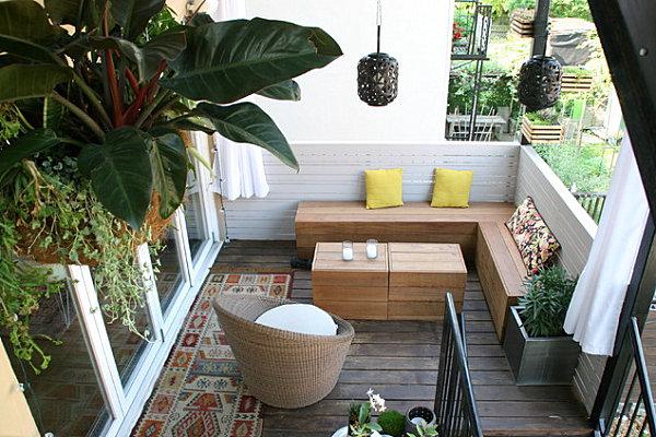 terrassengestaltung mit pflanzen rattan korb sessel