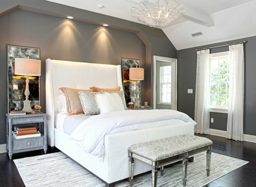traditionelles schlafzimmer design hoch weiß kopfteil