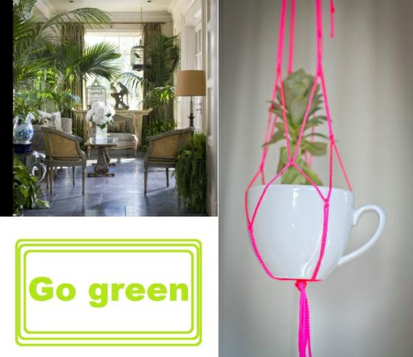 Aktuelle Interior Design Trends farben texturen grün hell teetasse
