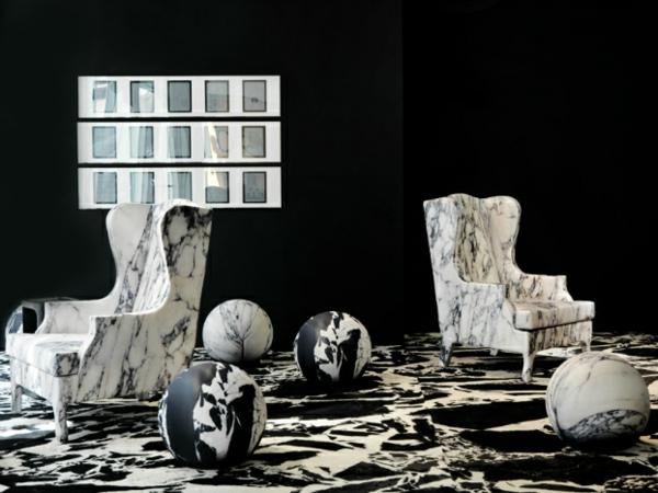 Aktuelle Interior Design Trends marmor porzellan weiß schwarz