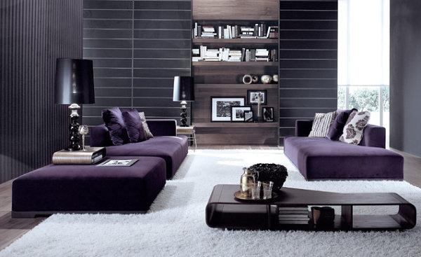 Wohnzimmer einrichten grau lila  Ambiente in Violett - Die Pracht der violetten Inneneinrichtung