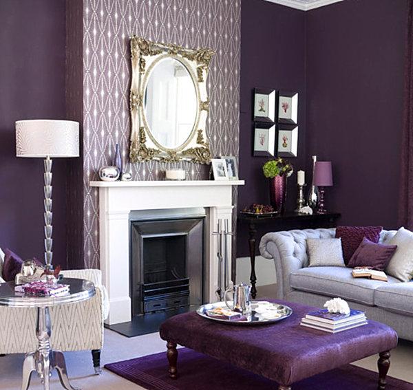 Ambiente in Violett inneneinrichtung königlich wohnzimmer sitzkissen