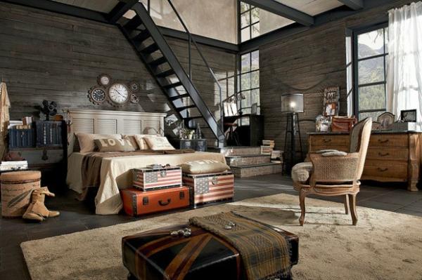 Ausgefallene Möbel Designs doppelbett leiter rustikal