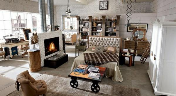 Ausgefallene Designmöbel einbaukamin doppelbett kopfteil