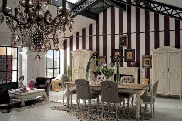 Möbel Designs streifen wandgestaltung esstisch
