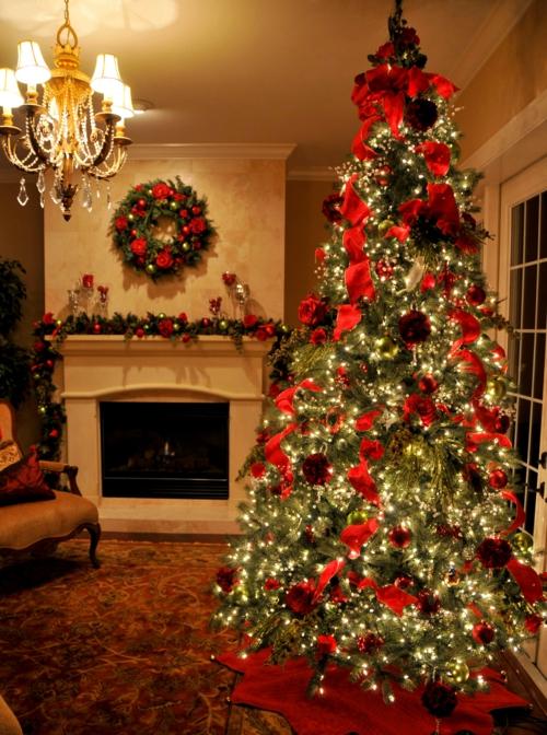den weihnachtsbaum schmcken schn kaminsims kranz leuchten - Christbaum Schmcken Beispiele