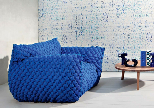 Designer Sofa mit abnehmbarem Bezug blau holz niedrig cauchtisch