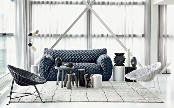 Designer Sofa mit abnehmbarem Bezug rustikale note gardinen