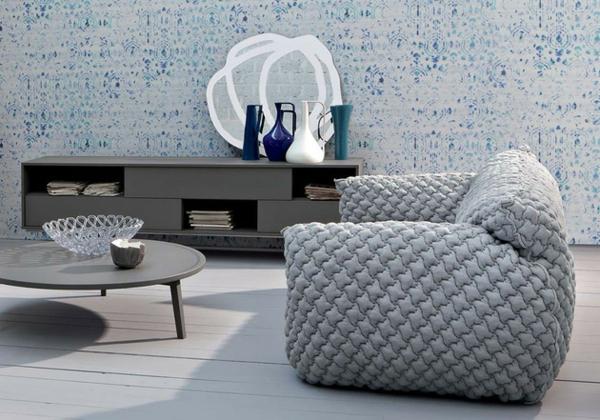 Designer Sofa mit abnehmbarem Bezug schale glas obst