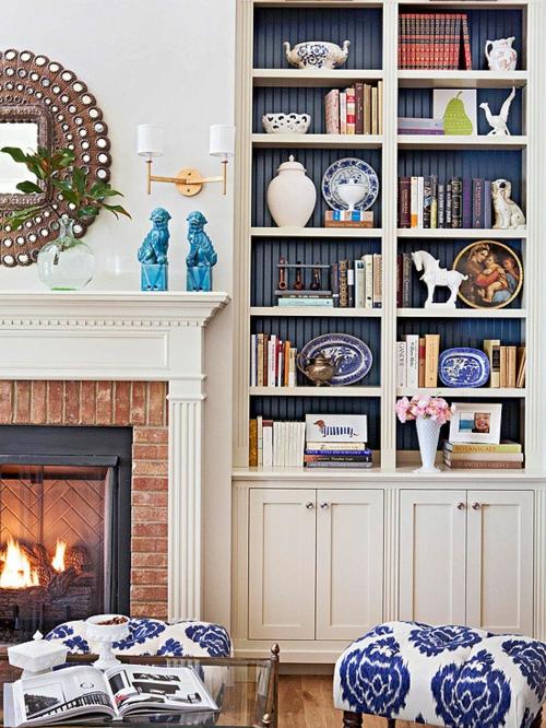 Die Bücherregale richtig und schick anordnen kamin wandspiegel