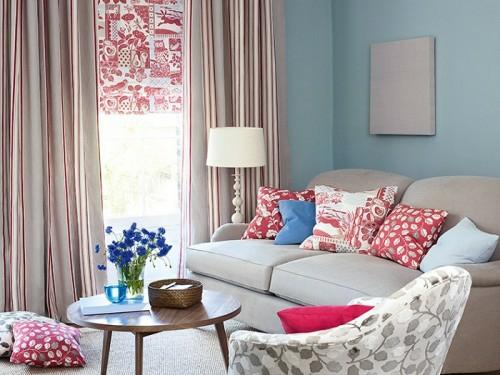 Farben und Trends bei Heimtextilien gardinen bunt sofa kissen