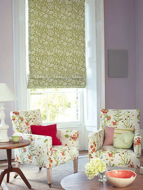 Farben und Trends bei Heimtextilien gardinenfenster grün weiß