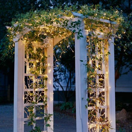 Gartenbeleuchtung zu Weihnachten licht kette grün laub