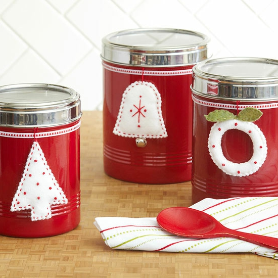 Weihnachtsgeschenke selber machen Freunde geschirr filz ornamente