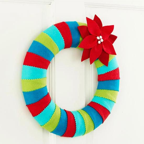 Weihnachtsgeschenke selber machen Freunde schaumkranz bunt streifen filz